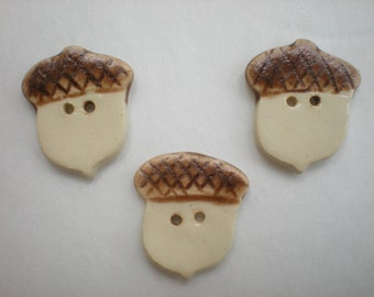 Hand made Pottery Acorn Buttons - Cream and Brown - Set of 3
