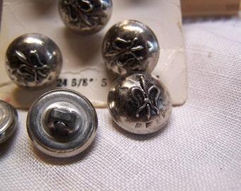 """Set of 8 Vintage 5/8"""" Silver Tone Metal Uniform Buttons (no.1696)"""