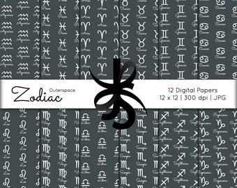 Digital Scrapbook Papers-Zodiac Signs-Astrology-Horoscope-Zodiac Clipart-Backgrounds-Wallpaper-Printable-Instant Download Clip Art
