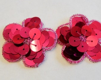 Hot Pink Sequin Flower, Pink Flower, Sequin Flower, Iron On Patch, Hot Pink,  34-201