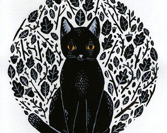A5 Digital Print 'Pumpkin' By Grace Taylor gouache painting/black cat