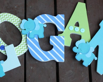 Custom Nursery Letters- Personalized Name-Logan-Lime green-blue-green-navy-dinosuar nursery-Wooden Hanging Letters - Honey Boo Boutique