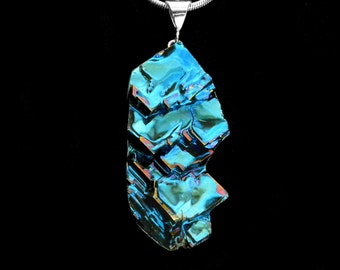 """Bismuth Necklace, """"Blue Dream"""" Bismuth Crystal Jewelry, Sterling Silver Bail, Pendant on Leather or Snake Chain"""