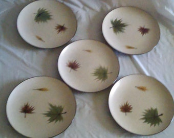5 Vintage Mid Century Modern Harmony House Hand Painted Stone Ware Maple Leaf Bread & Butter Plates Japan