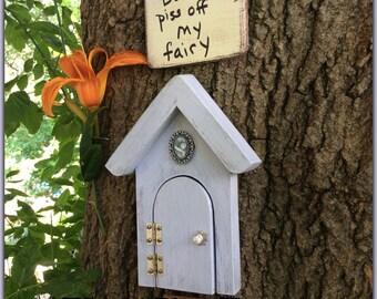 Fall decor fairy door fairy garden doors that open yellow for Wooden fairy doors to decorate