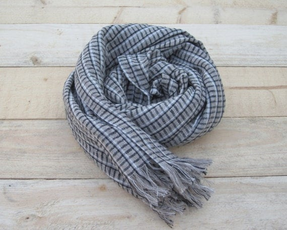 Linen scarf, scarf with knot fringe, linen scarves, scarf linen, linen shawl, pure linen scarf, women scarf, men scarf, soft scarf