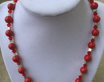 Red Ceramic Bead Necklace