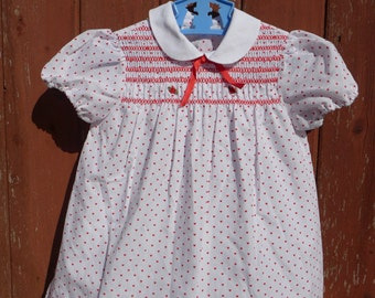 Vintage Pretty Heart Print Baby Girl's Smocked Dress - Age 1 year - Perfect for Goodwood!