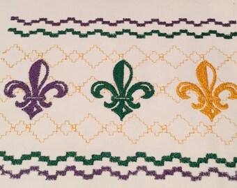 Mardi Gras Faux Smock Embroidery Design