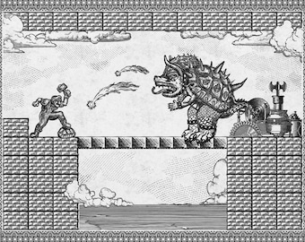 Geek Vintage Super Mario Bros Final Bowser Fight Engraving Poster Museum Quality Giclèe Art Print