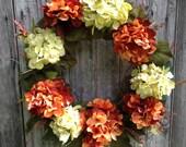 Hydrangea Wreath, Fall Wreath, Autumn Front Door Wreath