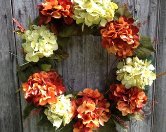 Hydrangea Wreath, Fall Wreath, Autumn Front Door Wreath