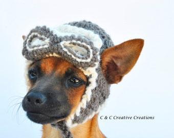 Aviator Dog Hat - Pet Hat - Cat Hat - Dog Costume - Dog Beanie - Hand Crochet - Made To Order