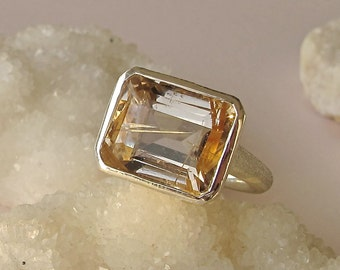 Gold Quartz Ring- Rutile Ring- Rectangle Rings- Quartz Rings- Stone Rings- Statement Ring- Gemstone Ring- Silver Quartz Ring- Ring