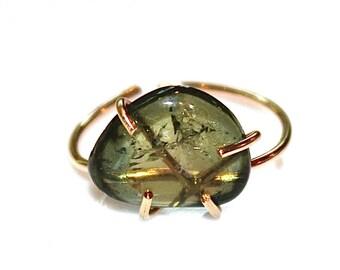Pebble Ring Green Tourmaline Ring Tourmaline Ring Gold Fill Ring Adjustable Ring Green Tourmaline Slice Tourmaline Jewelry Delicate Ring