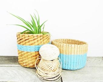 Pair of Little Baskets - Painted Basket - Trendy Organization - Beachy Blue Home Decor