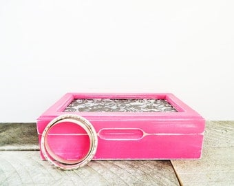 Upcycled Jewelry Box - Hot Pink and Black - Sexy Chic