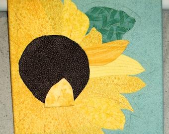 "Sunflower - Quilted Fiber Art on Canvas - 12"" x 12"""