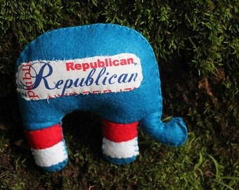 Political doll-Republican Party Elephant red,white,and blue felt doll, political plushie, voting time, presidential race, Republican support