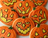 Pumpkin / Jack-o-lantern / Halloween Sugar Cookies with Buttercream Frosting