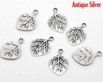 10 Pieces Antique Silver Leaf Charms Pendants 21x14mm