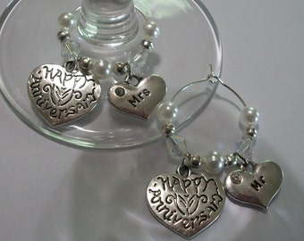 Set of 2 Glass Pearl and Antique Silver Heart/Mr/Mrs Happy Anniversary Wine Charms, Choice of 16 Colors