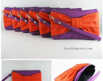 SUPER SALE - Set of 4 Wedding Clutches, Bridesmaids Clutches / Eggplant Purple with Orange Bow Clutches - Made To Order