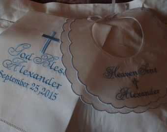 Christening Towel and Bib For Baby Girl or Boy