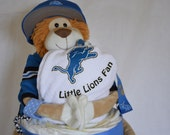 FREE SHIPPING, Detroit Lions Footall themed 4-tiered Sports Diaper Cake