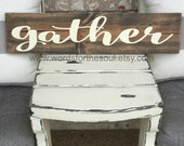 GATHER Kitchen Thanksgiving Autumn  Rustic Sign Subway Art  Wooden Sign Thankful Wood Bounty
