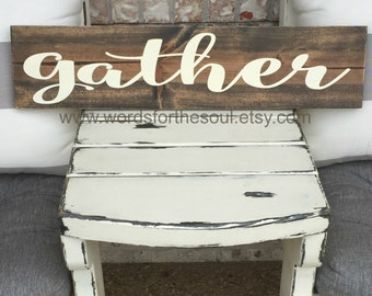 Gather Wood Sign | Autumn Wall Art | Kitchen Sign | Autumn Rustic Sign | Wooden Sign |  Farm house Sign | Gather Sign | Autumn Decor | Home