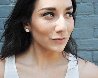 silver stone stud earrings