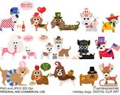 Holiday dogs Digital clip art for Personal and Commercial use - INSTANT DOWNLOAD