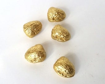 Decorative Cement Walnuts, Gold, Set Of Five, Easy Ready-To-Go Display, Home Accents