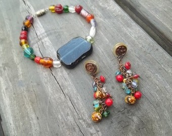 Bright Bead Bracelet Pierced Earrings Set