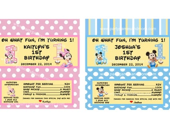 Unique Personalized Baby Mickey Mouse or Baby Minnie Mouse First Birthday Party Favor Hershey's 1.55oz Candy Bar Wrappers