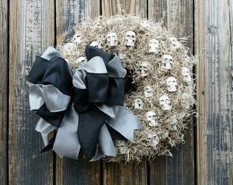 Halloween Wreath, Gothic Skull Wreath