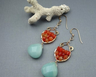 Orange and Aqua Earrings, Carnelian and Amazonite Gold Earrings, Amazonite Jewelry, 14K Gold Fill, One of a kind, Beachy,