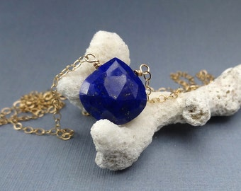 Blue Lapis Lazuli Gemstone Pendant Necklace Layering 14K Gold Fill Chain