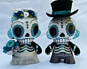 Day of the Dead Munny(dia de los Muertos) Wedding toppers Starry night/Teal and Silver