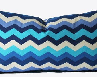 Decorative Outdoor Chevron Pillow Cover, Blue Zig Zag, 18x18, 20x20, 22x22 or Lumbar Throw Pillow