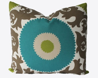 SALE ,  Decorative Designer Outdoor Fahri Suzani Medallion Pillow Cover, 18x18, 20x20, 22x22 Throw Pillow