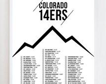 Colorado 14ers Checklist Wall Art Print