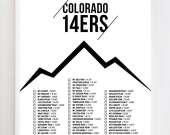 Colorado 14ers Checklist | Wall Art Print Design
