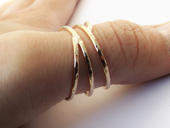 Bypass Thumb Ring Coil Ring Textured Thumb Ring Wrap Around