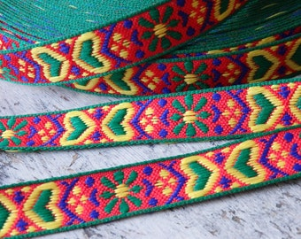 TWO YARDS of  richly woven Boho style trim in red, blue, green and yellow, ethnic style woven trim in bright jazzy colours, 14mm woven trim