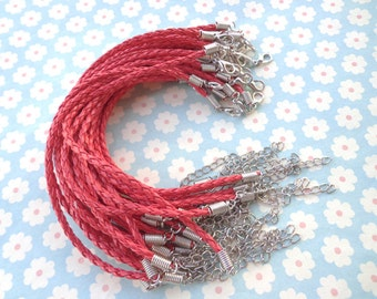 20 pcs 3mm 7 -9 inch adjustable red faux braided leather bracelet with white k fitting