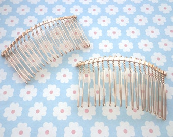 Nickel free--10 pcs Gold   Metal Hair Combs (20teeth)  36mmx75mm