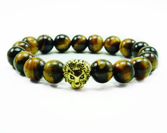 "Men's ""Arye"" Gold Lion Tiger Eye Beaded Bracelet"""