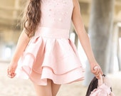 2 - PIECE SET Blush Pink Skirt and Top - Jadore Skirt by Isabella Couture - Fashion White Skirt - Children - Couture - Ruffle Skirt